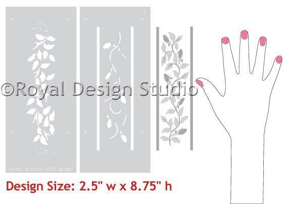 Sweet and Cute Baby Nursery Border Stencils - Baby Bud Vine Furniture Stencils - Royal Design Studio