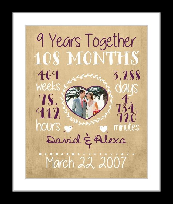 Personalized anniversary gift for wife, 9 year anniversary, date time together print, custom print, nine years,anniversary art, gift for him
