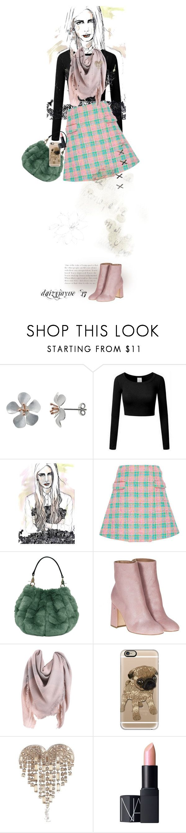 """Plaid"" by daizyjayne ❤ liked on Polyvore featuring Nina B, Emilio De La Morena, Laurence Dacade, Casetify, Yves Saint Laurent, NARS Cosmetics, plaid, contestentry and fashionillustrator"