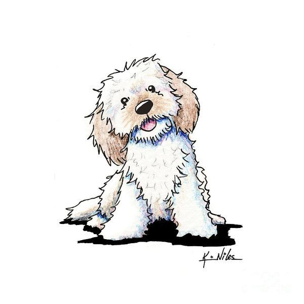 Happy Doodle Puppy Art Print By Kim Niles In 2019