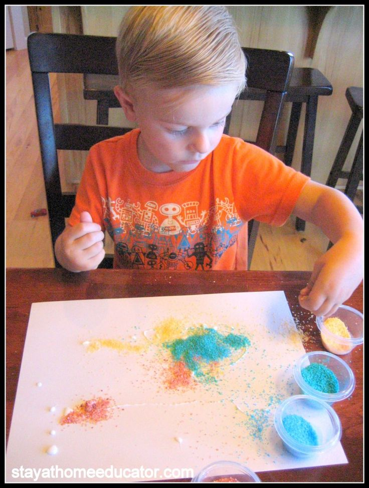 "Homemade ""sand"" with salt and food coloring. Fun for kids projects."