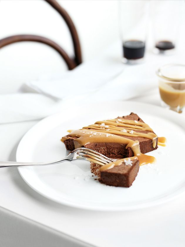 chocolate semifreddo with salted caramel.