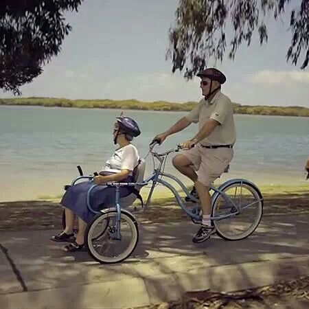 She has Alzheimer's; he loves her very much. She used to enjoy biking, so he built this so he could continue to take her on the rides she had always loved to go on before.