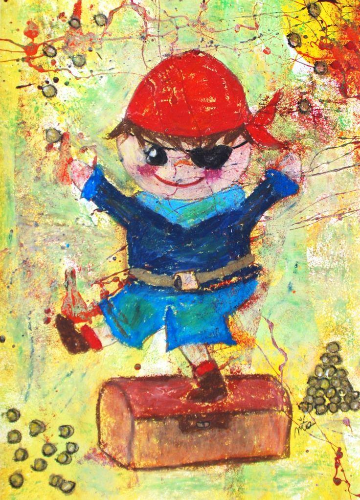 A3 Original Kinderzimmerbild: Pirat // original nursery painting (A3): Pirate