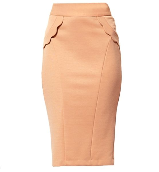 Update the classic pencil skirt by donning one that hits below-the-knee. Wearing one with detailing, such as a scalloped pocket, adds a little character to the original.