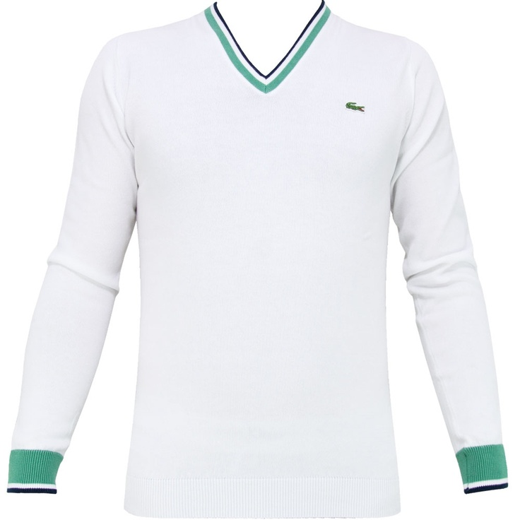Lacoste V Neck Tipped Cotton Knit Blanc - Spring/Summer 12