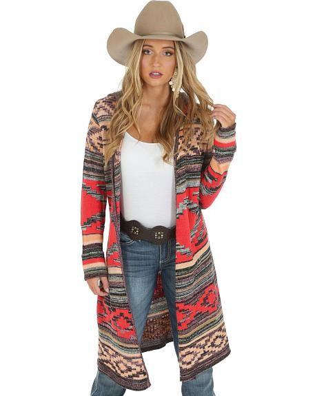 Wrangler Women's Jacquard Sweater Duster with Hood [LWK407M]