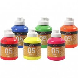 A-Color acrylverf, neon kleuren, 05 - neon, 6x500ml