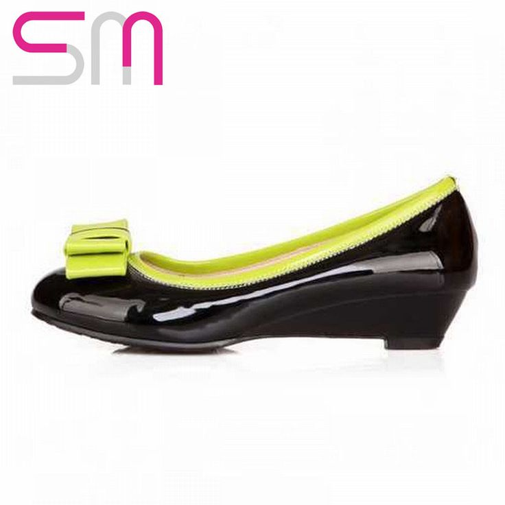 Big Size 31-48 Patent Patch Color Bowtie Wedges Pumps 2015 Brand Low Heels Shoes Spring Pumps Summer Shoes Women Shoes woman alishoppbrasil