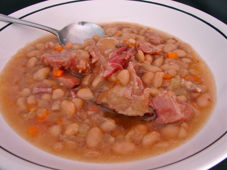 Sharon's Slow Cooker Navy Bean Soup. I skip the Dutch oven part. http://southernfood.about.com/od/crockpotsoup/r/bl93c3.htm