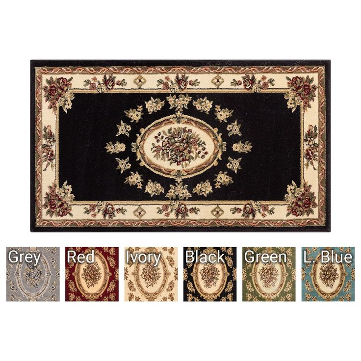 """Well Woven Le Petit Palais Traditional 2'3"""" X 3'11"""" Door Mat Accent Small Kitchen Rug Bathroom Foyer Area Rug (Black)"""