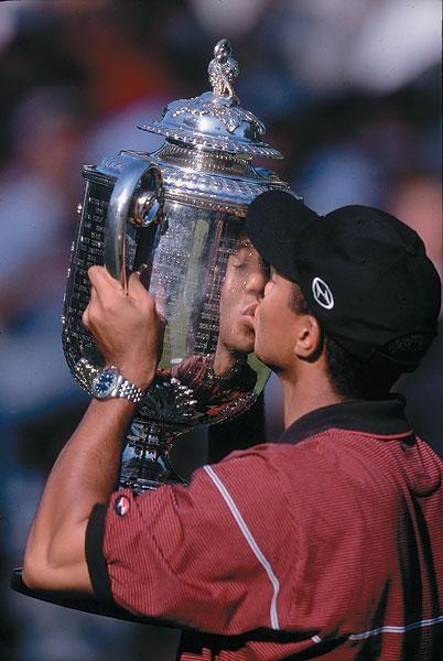 Tiger Woods, trophy, 1999, Tiger Woods PGA Championship Career Photos | GOLF.com