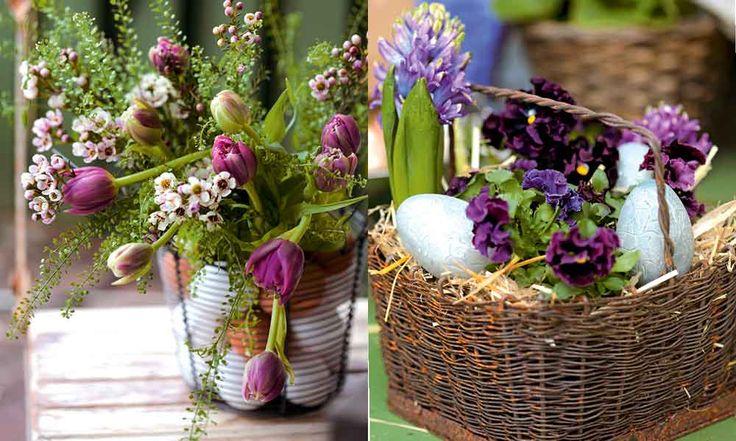 Gör vackert påskfint med lila blommor.