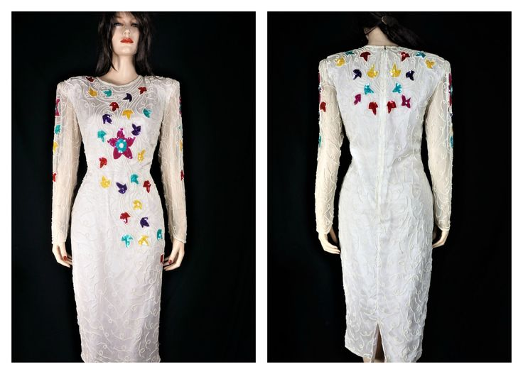 Vng White Beaded Desinger Silk Wiggle Dress / Vintage Beaded 80s Club Dress / 80s Bead & Sequin Designer Bombshell Dress / Gina G Silk Dress by HippieGypsyBoutique on Etsy