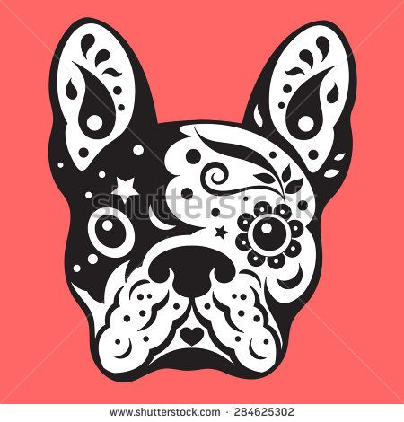 french bulldog sugar skull, frenchie cute dog day of the dead, vector illustration design - stock vector