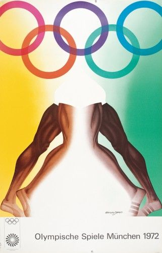 JONES, Allen. (b. 1937) Olympische Spiele München 1972. [Munich Olympics]  Original offset lithograph, printed by Edition Olympia, Munich, 1972. #olympics #sport