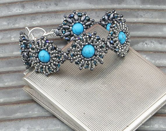 Turquenite Stone Bracelet by CatchTheBeads on Etsy