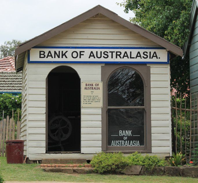 Bank of Australia 1920's  This building has been set up as an example of a small bank branch typical of the mid 1800's courtesy of the ANZ Bank.