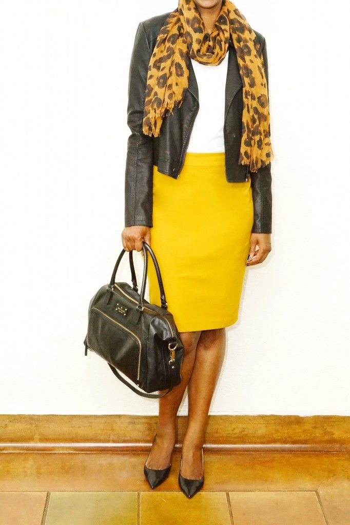 How to Wear a Mustard Yellow Pencil Skirt - White Tee - Leopard Print Scarf - Black Bag - Black Heels
