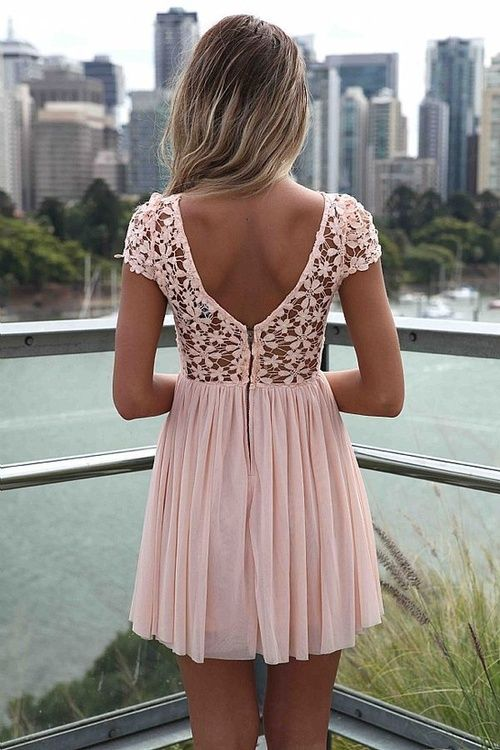 Adorable pink lace & low back :)