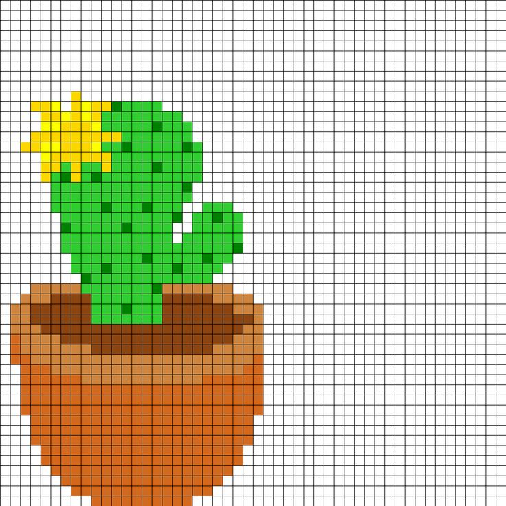 Yellow Flowering Cactus Perler Bead Pattern