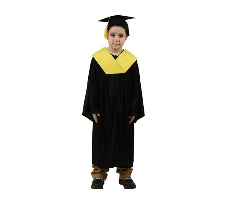 #Disfraz de #Licenciado o #Graduado amarillo para #niños.  #toga #beca #graduación #disfraces