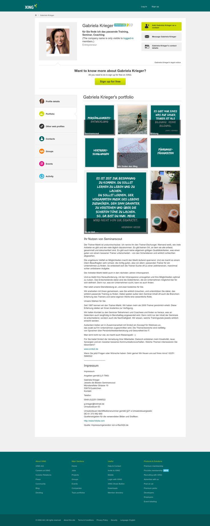 #XING #Portfolio Beispiel von @ElaKrieger designed by @intercessio und so gehts: http://www.networkfinder.cc/xing-linkedin-facebook-profiles/das-xing-portfolio-mit-wow-effekt-im-xing-profil-optimieren/ via #Snapito - Fullpage Screenshots