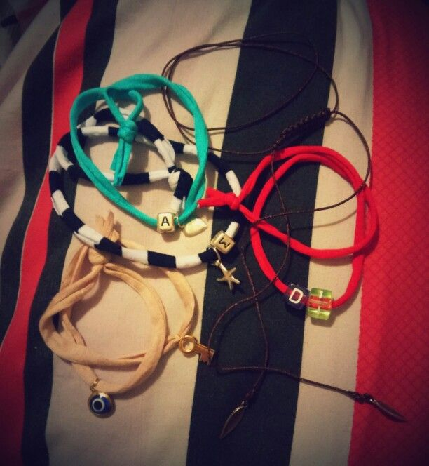 Lycra handmade braceletes and macrame necklace