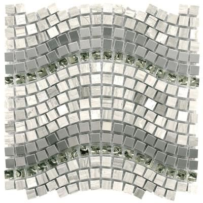 Merola Tile Tessera Wave Mercury 11 3 4 In X 12 1 4 In X 8 Mm Glass Stone And Metal Mosaic Tile Silver Mixed Finish Mosaic Wall Tiles Mosaic Tiles Mosaic