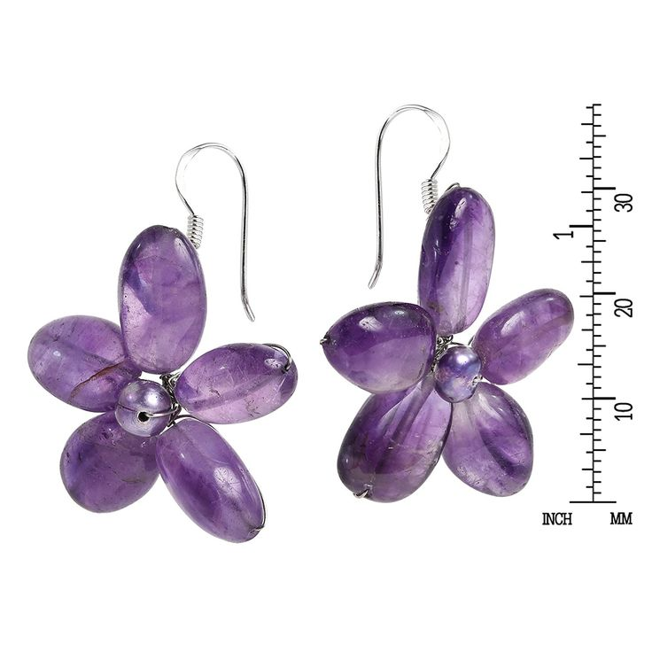 Cultured Freshwater Purple Pearls (Dyed) and Purple Quartz Flower Necklace-Earrings Jewelry Set ** Read more details by clicking on the image. #WomensJewelry