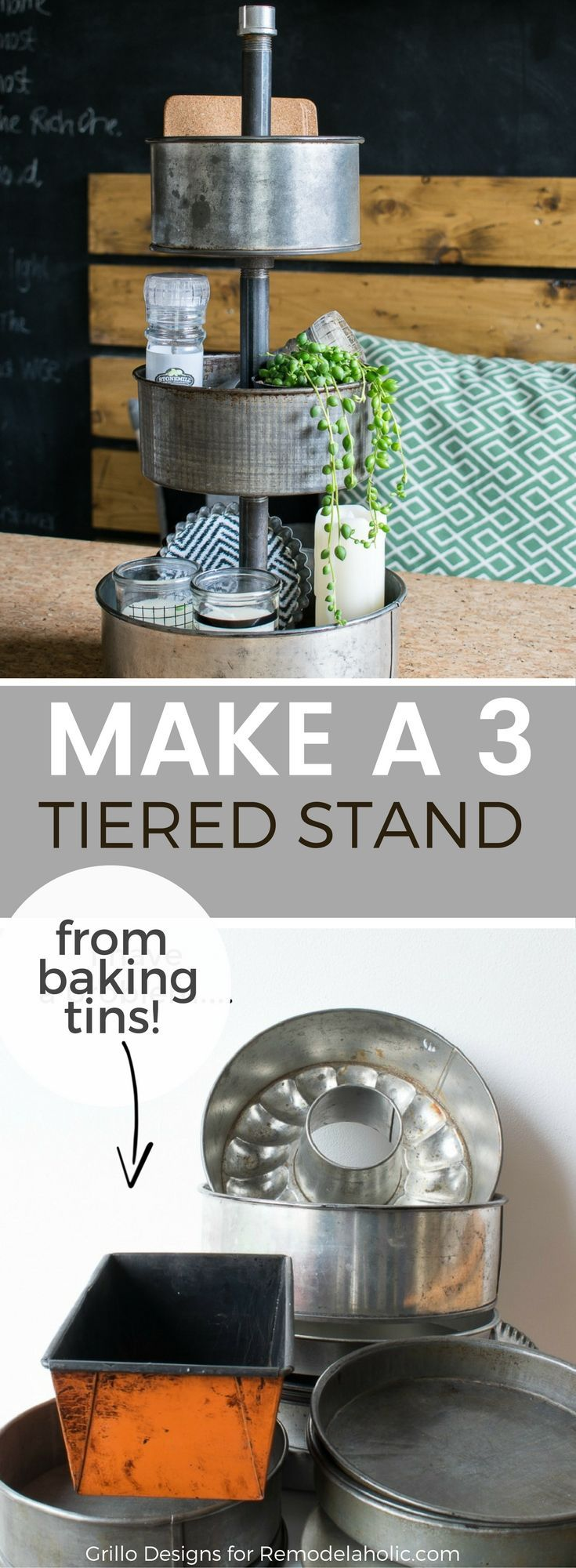 Three tiered stands are all the rage right now - especially metal industrial style trays that rotate . .. like this one! Learn how I made it over on Remodelaholic!