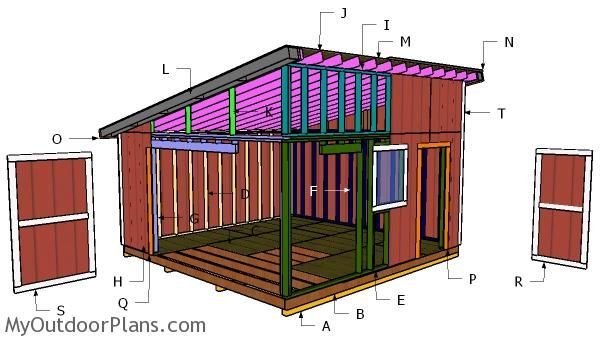 16x16 Lean To Shed Roof Plans Myoutdoorplans Free Woodworking Plans And Projects Diy Shed Wooden Playhouse Pergo Lean To Shed Diy Shed Plans Shed Design