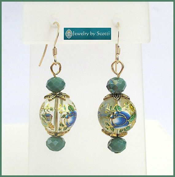 Chinese Style Flower Bead Earrings Long Dangle Earrings Teal