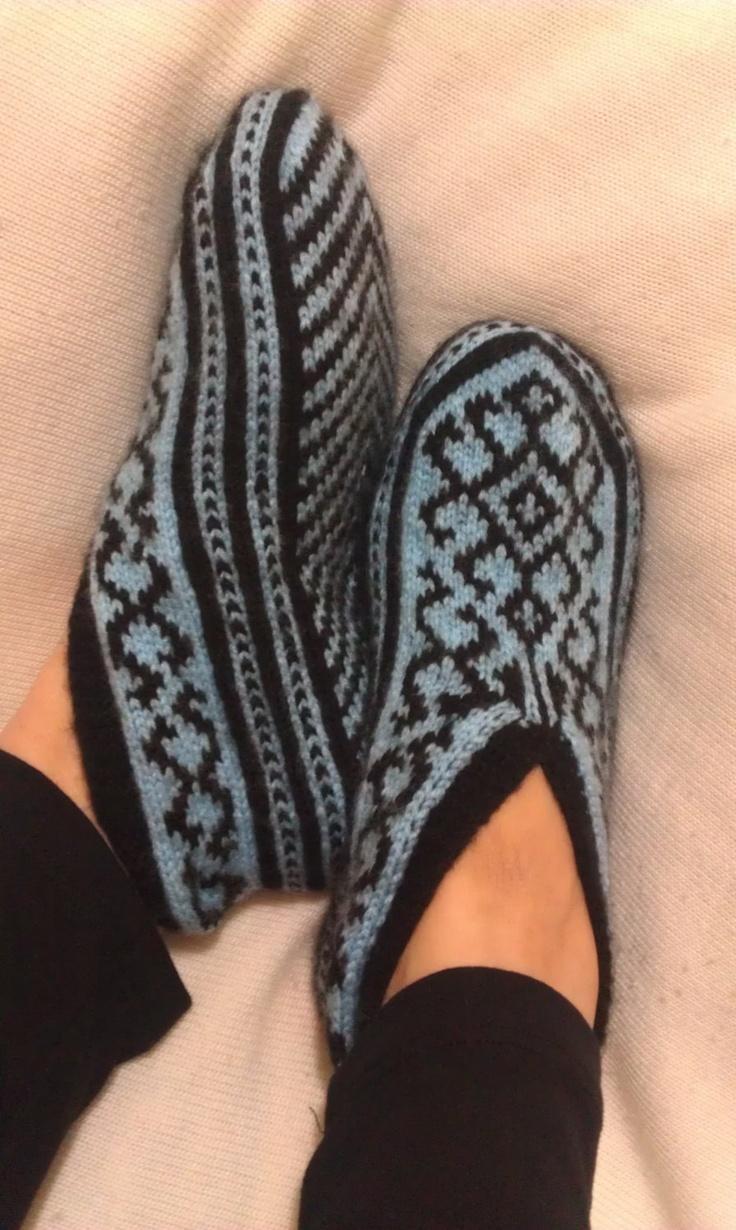 Hand Knitting Home Slippers / Handmade Blue Color Socks / Handmade Knit Woman Slippers/