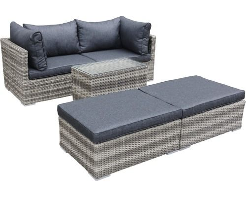 Loungeset Multi Polyrattan 4 Sitzer 5 Teilig Grau Bei Hornbach 399 00 Polyrattan Lounge Wolle Kaufen