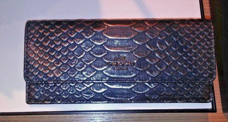 Coach 55907 Wallet in Hologram Leather Iridescent Dark Gunmental/Grey Black #Coach #Bifold