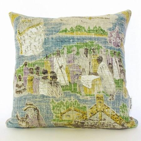 Vintage linen cushion cover