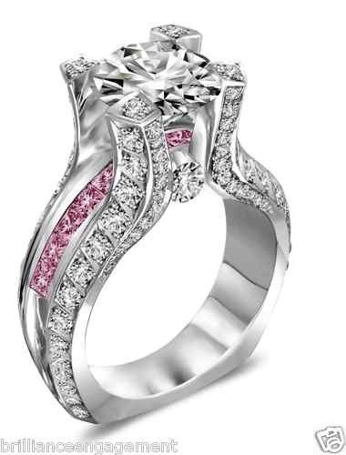White & Pink Diamond Engagement ring—such a beauty—love this.