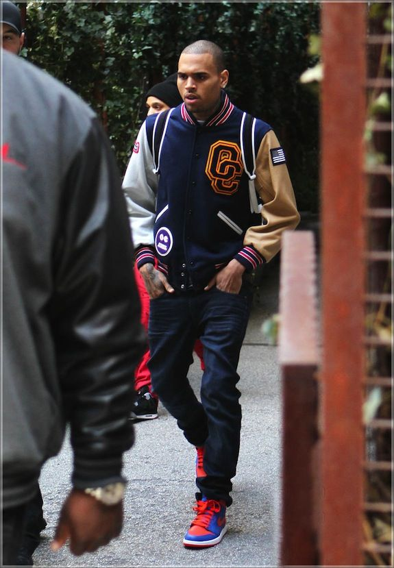 Men's Fashion Flash: Chris Brown's New York City Opening Ceremony Varsity Patch Jacket and Alexander Wang Neoprene Wallie Backpack