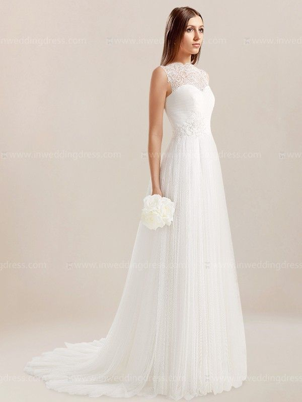 Simple informal wedding dress features illusion neckline and eye-catching Lace illusion back detail. Floor length A-line silhouette is modern and chic, perfect for showing off your beauty! Full length skirt trails into a sweep train. Back is complete with button closure.