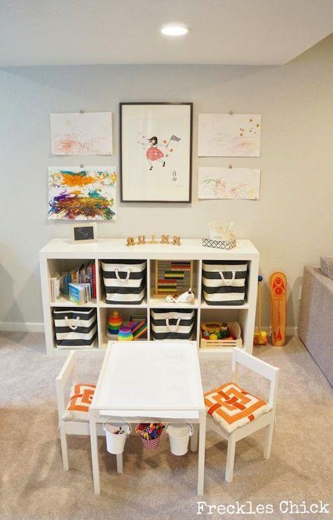 Playroom storage is very important to a clean playspace!