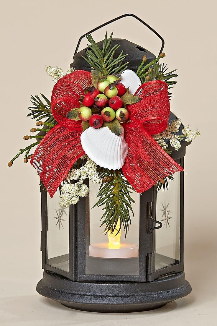 """8"""" Black Metal Lantern, Removable Decor with Winter Berries, White Shells, Red Bow"""