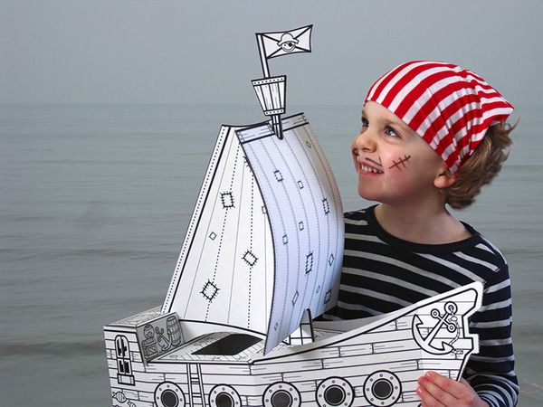 Pirate Boat Cardboard Toy. Hours of fun and imaginative play.  Construct, colour & play.