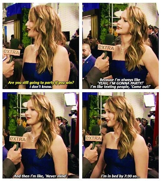 Jennifer Lawrence. One of the many reasons I love her :)