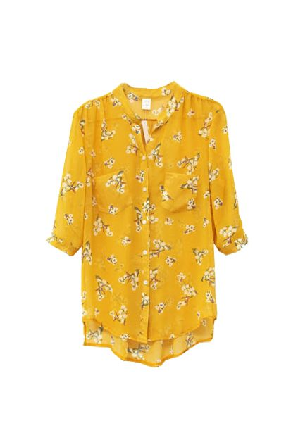 "Everything I want from Romwe seems to be ""coming soon"".... Flower Print Yellow Blouse, $30.99"
