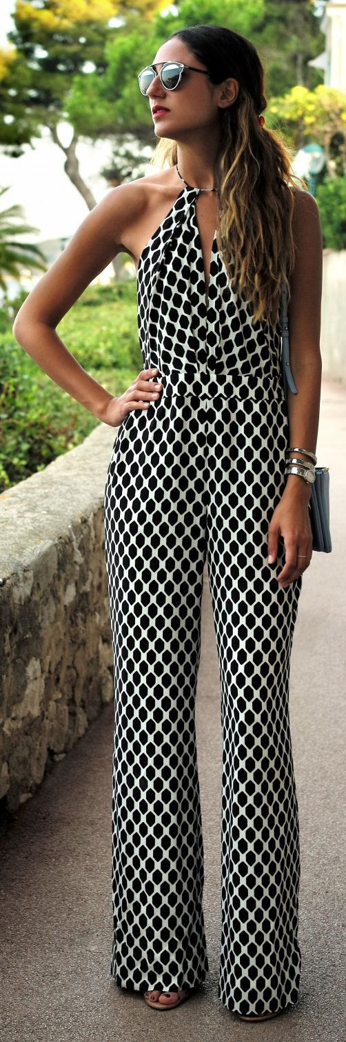 Chic In The City- Diane Von Furstenberg Black And White Honeycomb Print Comfy Halter Jumpsuit- ~LadyLuxury~