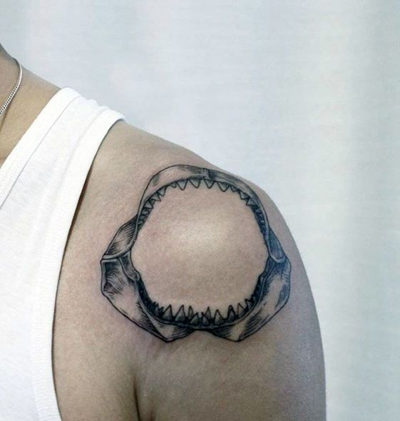 Man With Shark Jaw Shoulder Cap Tattoo