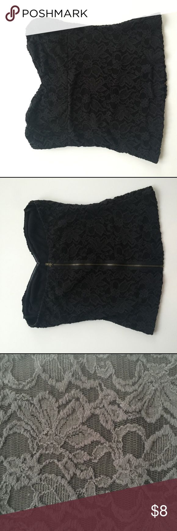 Pins and Needle tube top All black tube top with lace overlay and sweet heart neckline. Size large. Purchased from Urban Outfitters. Brass colored zipper in the back. Shorter cut, falling above hips. Lightly worn. Pins & Needles Tops Tank Tops