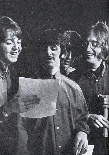 The Beatles on set for filming the last scene of Yellow Submarine, Twickenham studios, 25 January 1968. [x]