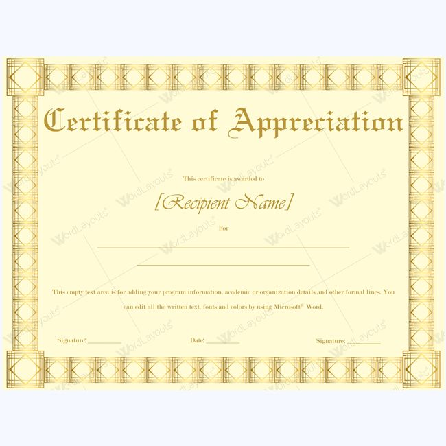 26 best Certificate of Appreciation Templates images on Pinterest - formal certificate template